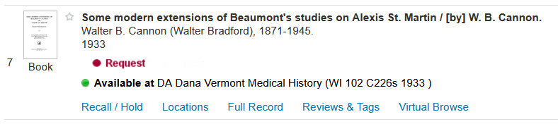 "sample CATQuest result showing ""Available at DA Dana Vermont Medical History (WI 102 C226s 1933)"" for the location"