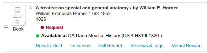"sample CATQuest result showing ""Available at DA Dana Medical History (QS 4 H816t 1826)"" for the location"